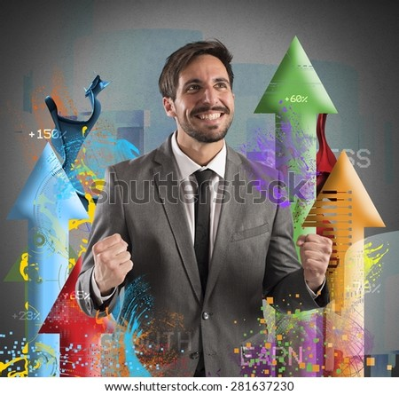 Happy businessman rejoices to his financial Success - stock photo