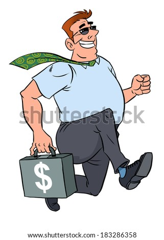 Happy businessman running with a suitcase of dollars