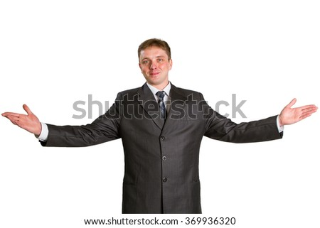 Happy businessman showing his thumbs up with smile over white background - stock photo