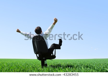 Happy businessman sitting on chair on green meadow - stock photo