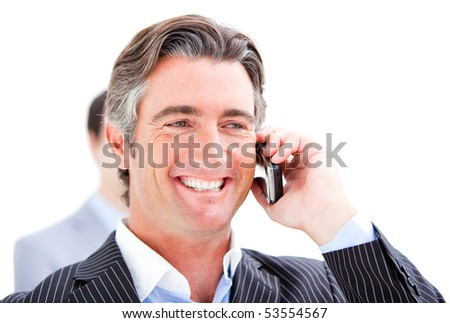 Happy businessman talking on the phone against a white background - stock photo