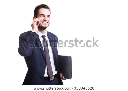 Happy businessman talking on the phone with folder in hand isolated over white background in studio shooting. Business style and successul businessman - stock photo