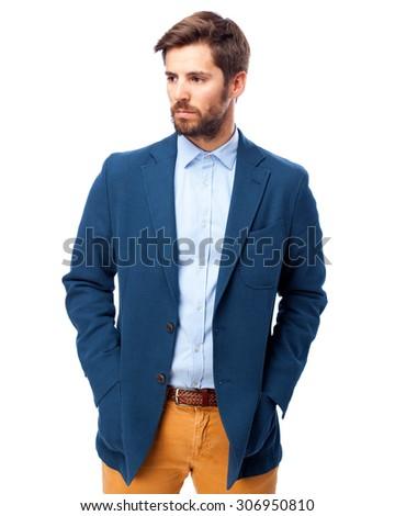 happy businessman thinking - stock photo
