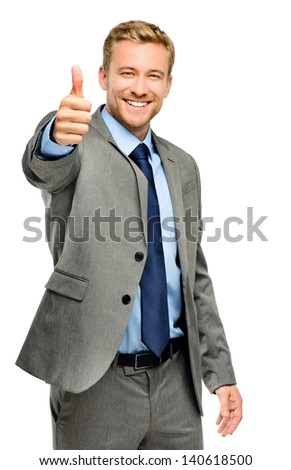 Happy businessman thumbs up sign on white background - stock photo