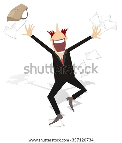 Happy businessman tossing papers, excited about something  - stock photo