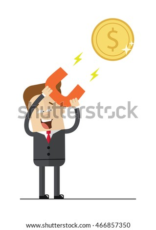 Happy businessman with a magnet to attract money. Isolated illustration on white background . Flat image