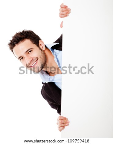 Happy businessman with banner - isolated over a white background - stock photo