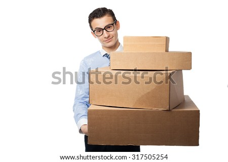 happy businessman with boxes