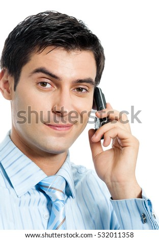 Happy businessman with cellphone, isolated on white background. Success in business concept.