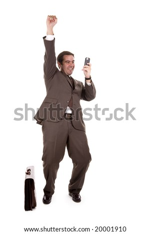 happy businessman with cellular phone over white - stock photo