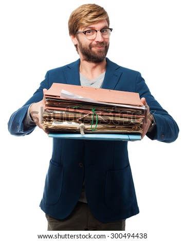 happy businessman with files - stock photo