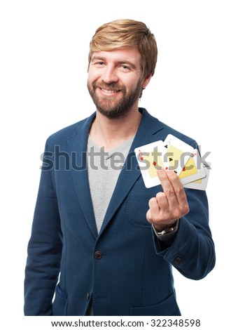 happy businessman with poker cards - stock photo