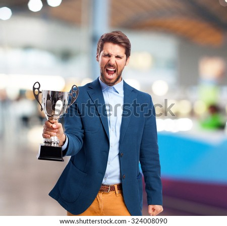 happy businessman with sport cup - stock photo
