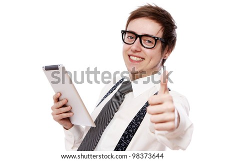 Happy businessman with tablet pc over white background - stock photo