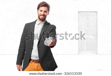 happy businessman with water bottle - stock photo