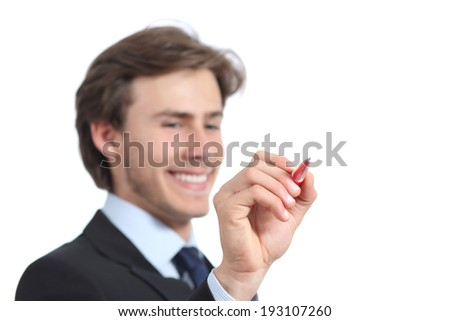 Happy businessman writing on the air with a pen isolated on a white background - stock photo