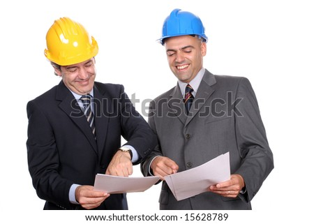 Happy businessmen in a meeting, isolated over white background