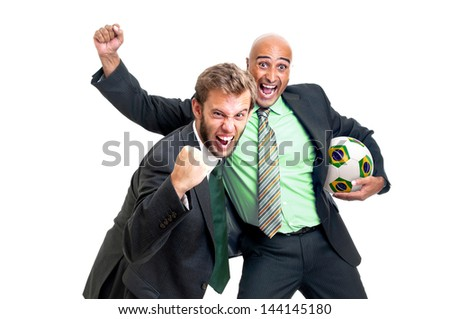 Happy businessmen with soccer ball isolated in white - stock photo