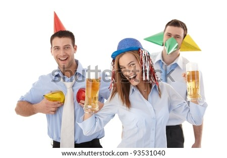 Happy businessteam having party fun in office, smiling, drinking beer.? - stock photo