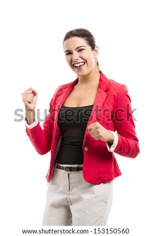 Happy businesswoman celebrate something, isolated over a white background - stock photo