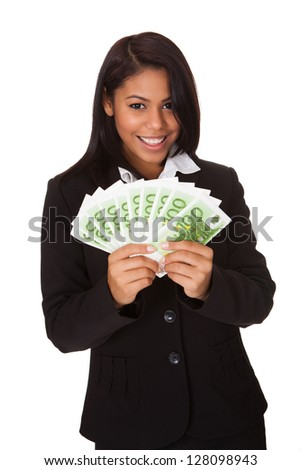 Happy Businesswoman Holding Euro Note In Hand. Isolated On White Background