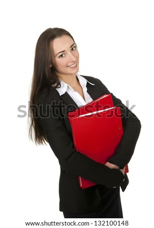 happy businesswoman holding red folders