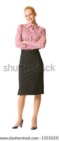 Happy businesswoman isolated on white, full body portrait - stock photo