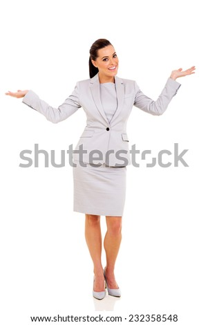 happy businesswoman looking surprised on white background - stock photo