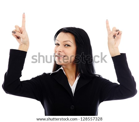 Happy businesswoman pointing to the top of the image isolated on white background - stock photo