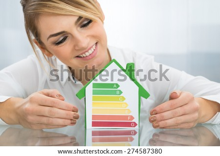 Happy Businesswoman Showing Energy Efficient Chart On House Model In Office - stock photo