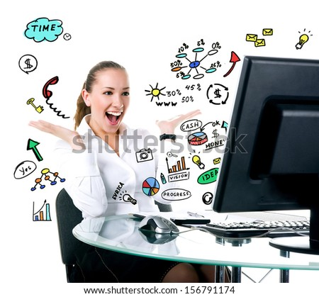 Happy businesswoman sits at the computer. Studio shot - stock photo