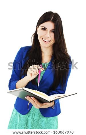 Happy Businesswoman Taking Notes. Isolated on White Background  - stock photo
