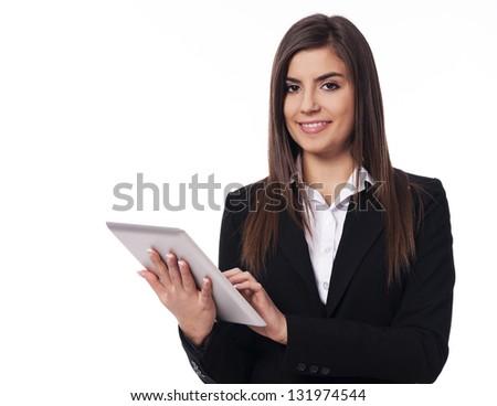 Happy businesswoman using digital tablet - stock photo