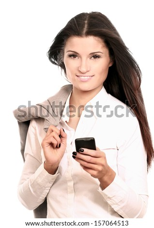 Happy businesswoman using mobile phone, smiling, isolated on white