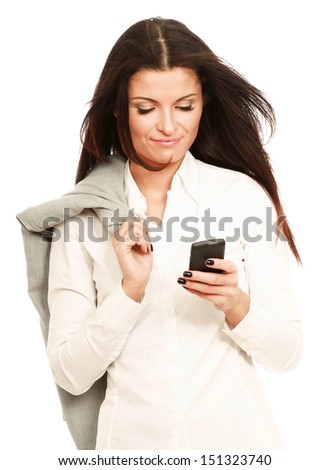 Happy businesswoman using mobile phone, smiling, isolated on white background