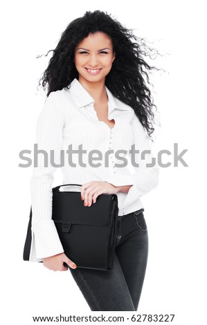 happy businesswoman with briefcase. isolated on white background - stock photo