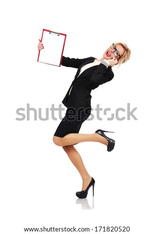 happy businesswoman with clipboard on a white background - stock photo
