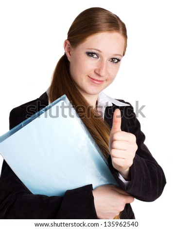 happy businesswoman with folder showing thumb up