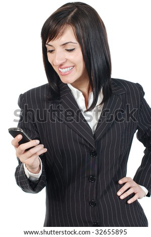 Happy businesswoman with mobile phone - stock photo