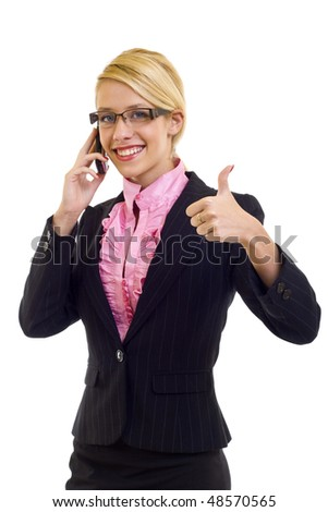 Happy businesswoman with phone and thumbs up gesture, isolated