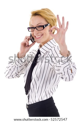 Happy businesswoman with phone and thumbs up gesture, isolated - stock photo