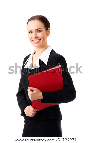 Happy businesswoman with red folder, isolated on white