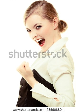 Happy businesswoman with success hand sign gesture. Blonde girl winner. Business. Isolated on white. Studio shot. - stock photo