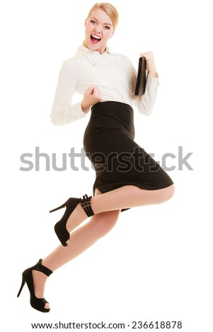 Happy businesswoman woman winner shouting for joy with victory sign hand gesture isolated on white. Success in business work. - stock photo