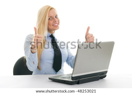 Happy businesswomen with laptop. Isolated on white - stock photo