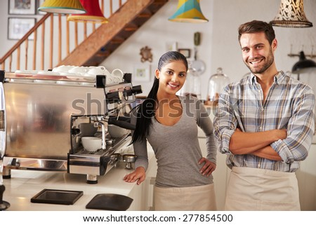 Happy cafe workers - stock photo