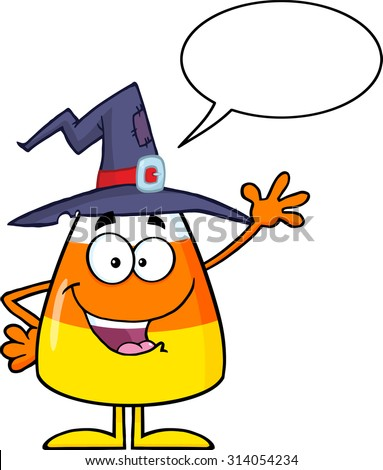 Happy Candy Corn Cartoon Character With A Witch Hat Waving. Raster Illustration Isolated On White With Speech Bubble - stock photo