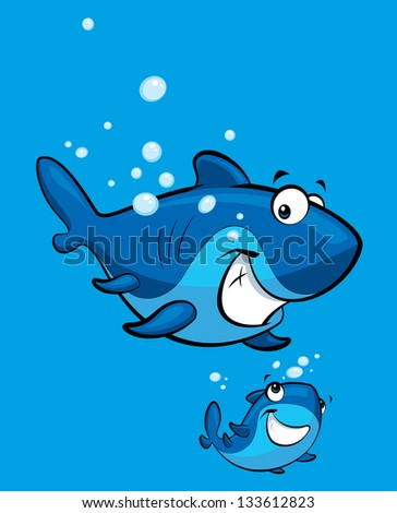 Happy cartoon blue baby shark with his parent
