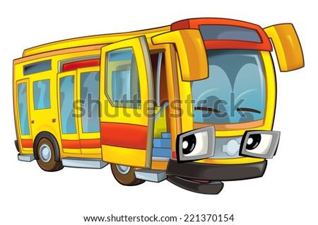 Happy cartoon - bus - caricature - illustration for the children - stock photo