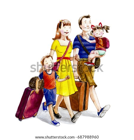 Happy Cartoon Family Going On Vacation Watercolor IllustrationHand Drawn